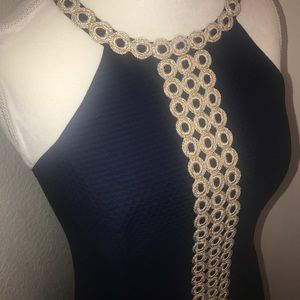LILLY PULITZER BLUE AND GOLD DRESS!